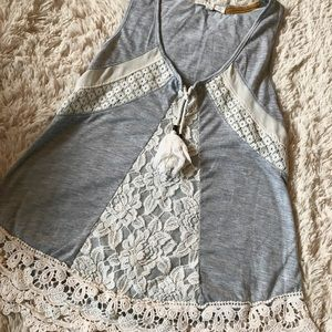 Lace Grey Tank top Blouse🖤hippie hobo style